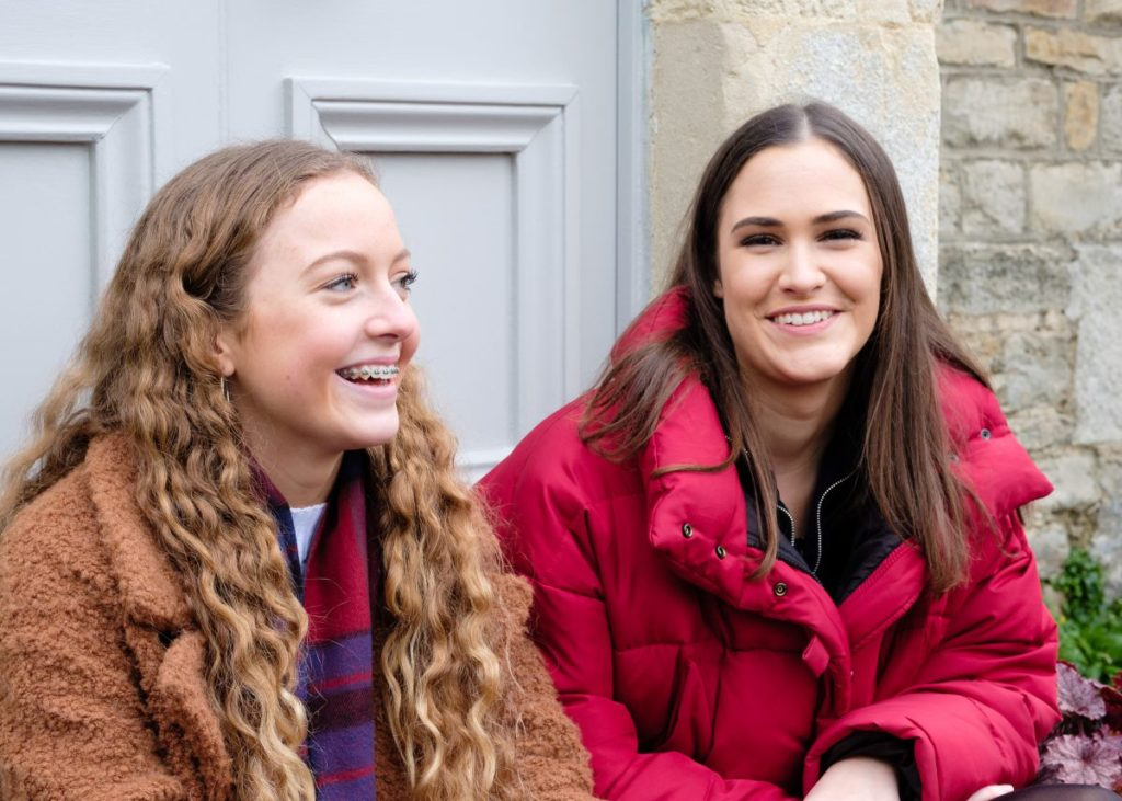 Teenage sisters on a Somerset country walk