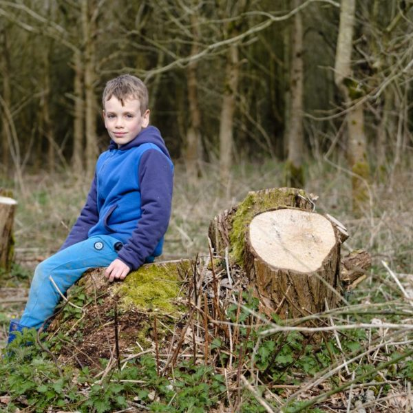 Portrait of young boy in woodland setting at Southwick Country Park