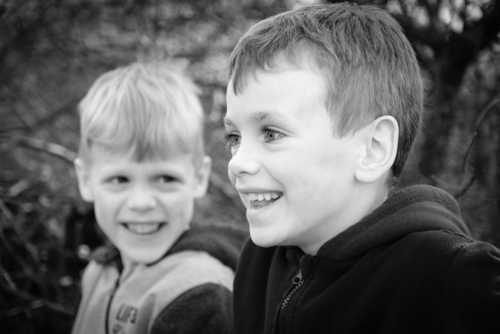 Two young brothers enjoying Southwick Country Park