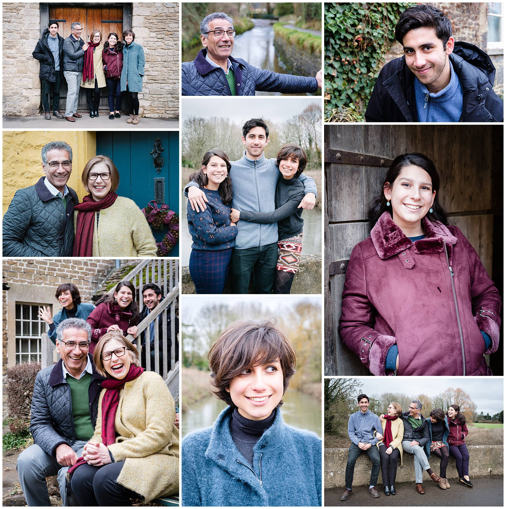 Collage of a Christmas family photo session in the National Trust village of Lacock