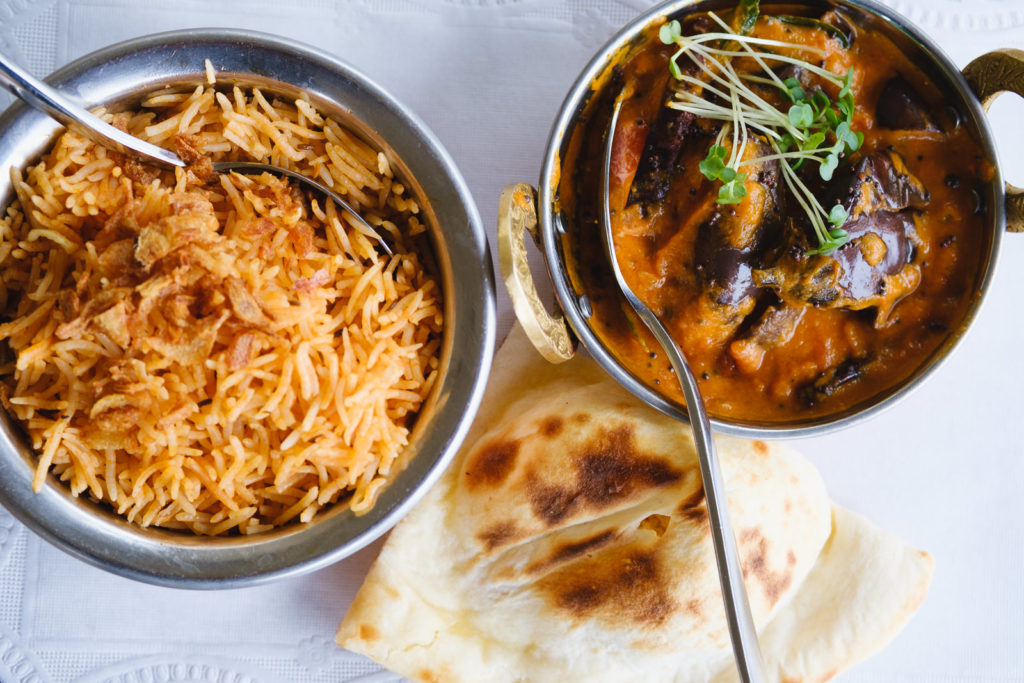 Corporate marketing photography with sample dishes at Mantra Indian Restaurant in Bath