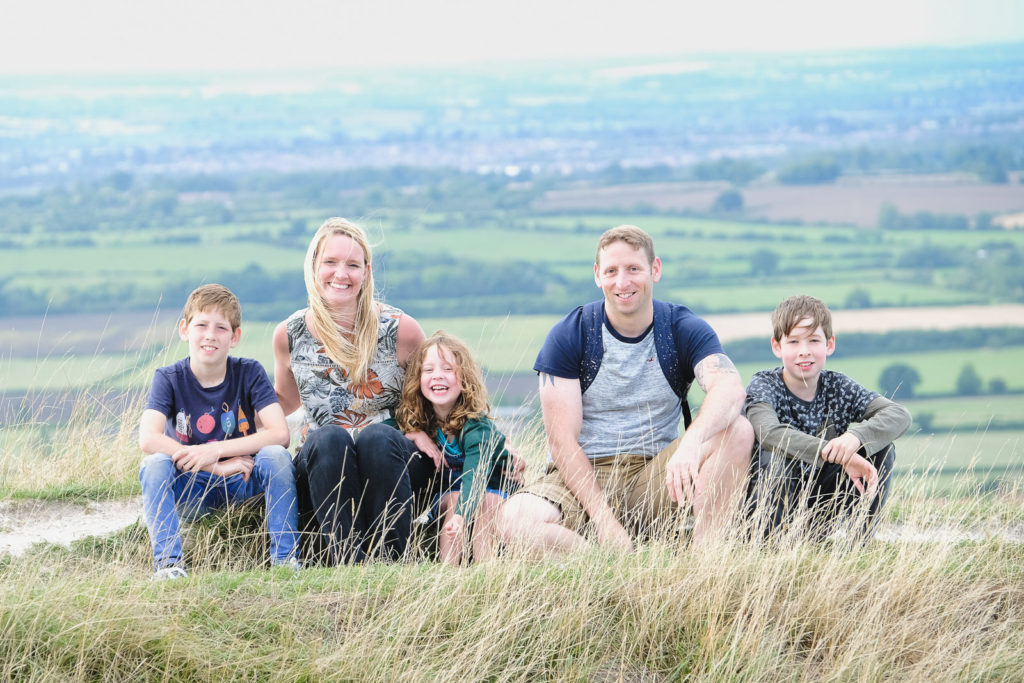 Family photography - family group photo at the Westbury white horse
