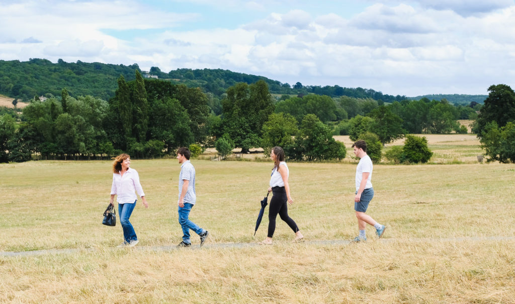 Family photography - grown up family on country walk near Lacock
