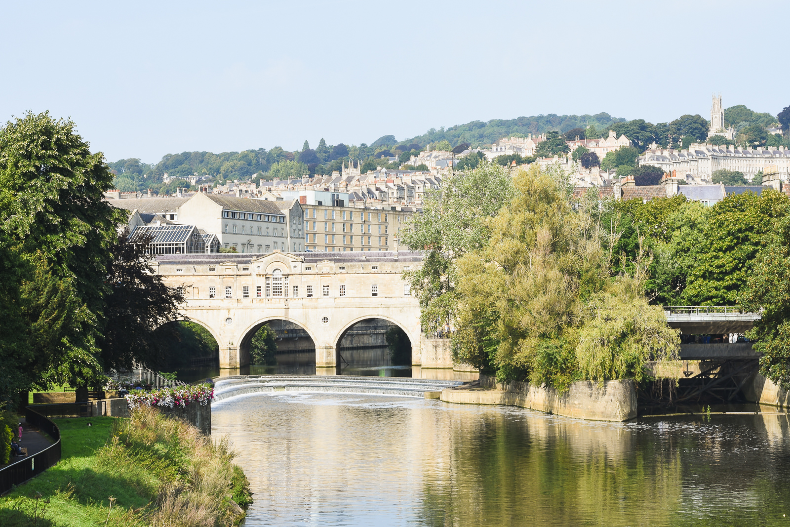 Views of the River Avon, Pulteney Bridge and the hills surrounding Bath
