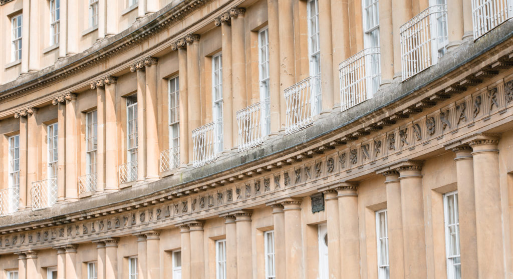 View of Georgian architecture - the Circus in Bath