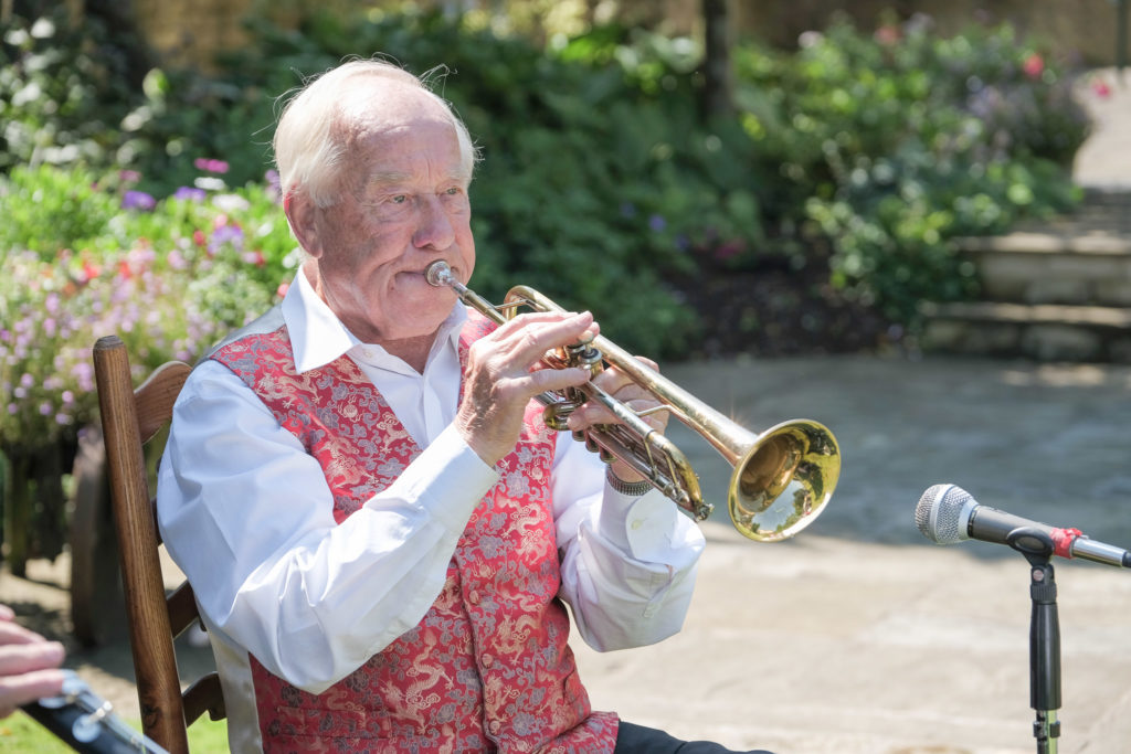 Jazz band entertaining guests at summer anniversary party in Bath