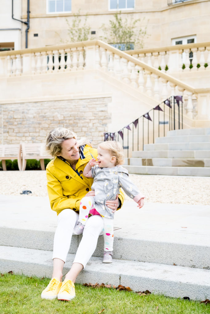 Young mum with her daughter at a property launch photoshoot in Bath