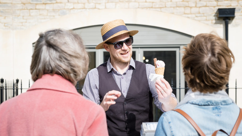 Guests receiving an ice cream at Bath property launch