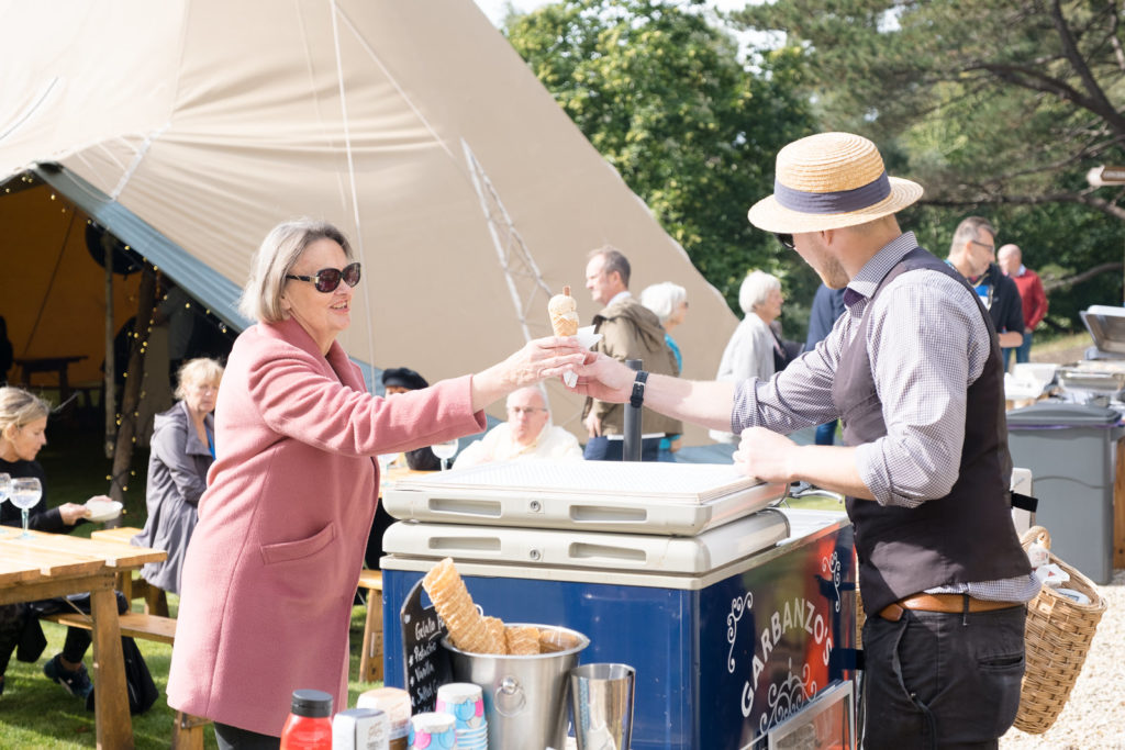 Guest receiving an ice cream at Bath property launch