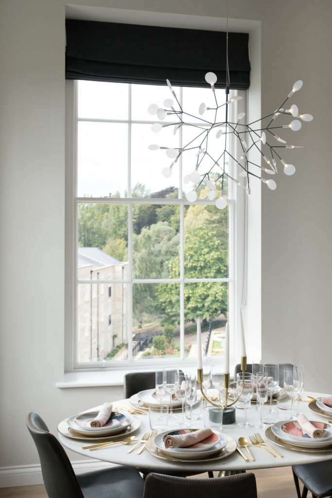 Styled dining area with garden views at Bath property launch