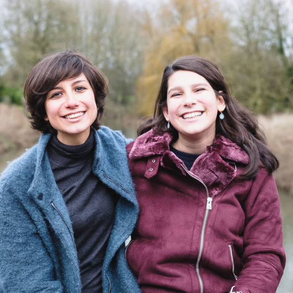 Family photography with two sisters on a walk in Lacock Wiltshire