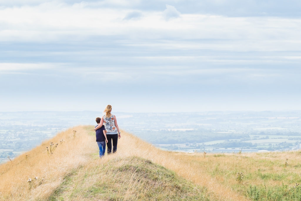 Mother and son taking in teh view from the Westbury White Horse