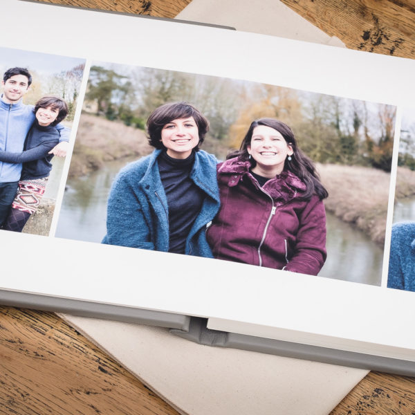 Family photos printed and presented in a fine art album