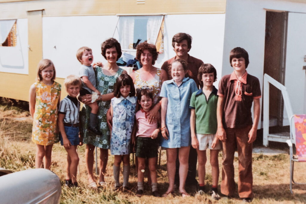 A large family group photo taken in the 1970's