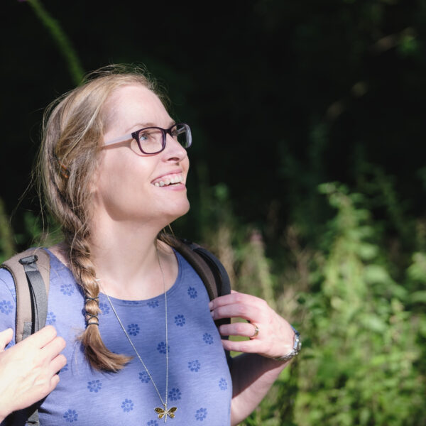 Personal branding photography of female coach exploring nature near Bath