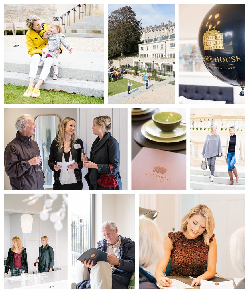 A series of storytelling images showing the opening of Hope House in Bath
