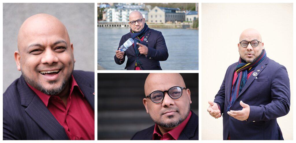 Collage of personal branding photos of Naseem Talukdar taken on the Bristol harbourside