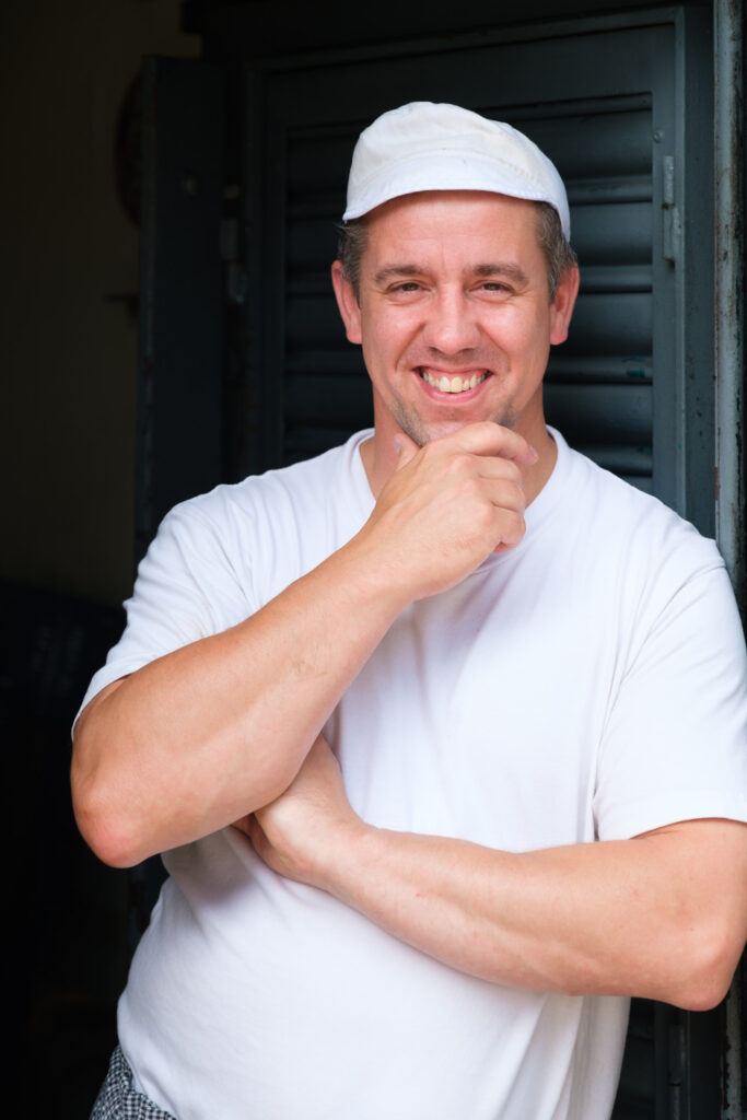 Bristol based baker in his whites - Photography by Nick Cole Photography